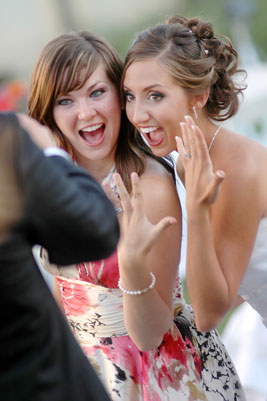 Excited Bride and Bridesmaid