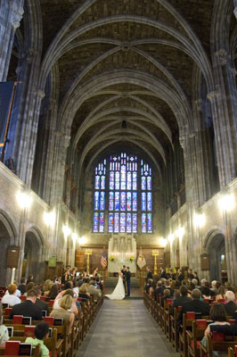 Wedding ceremony in large cathedral