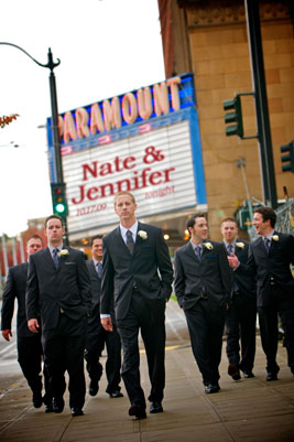 Groomsmen walking in formation