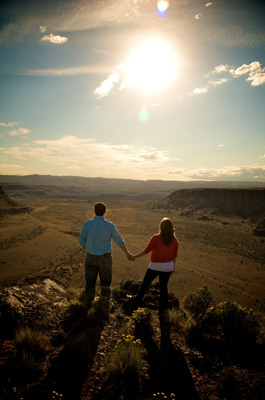 Couple overlooking canyon