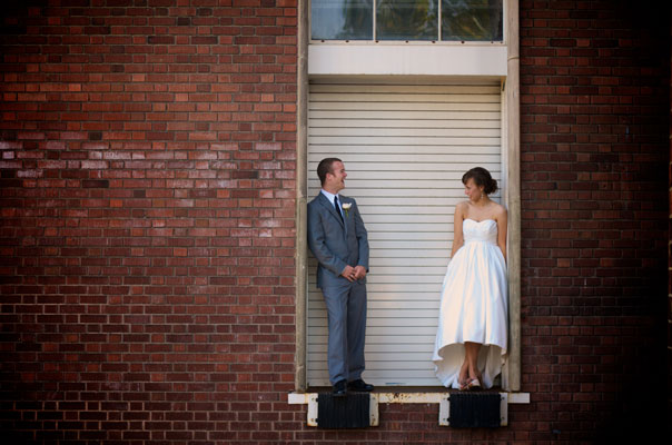 Groom and Bride at cargo door