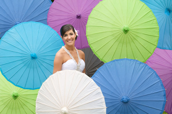 Bride many umbrellas