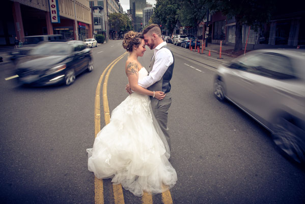 newlyweds middle of street